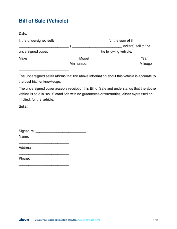 create bill of sale for vehicle