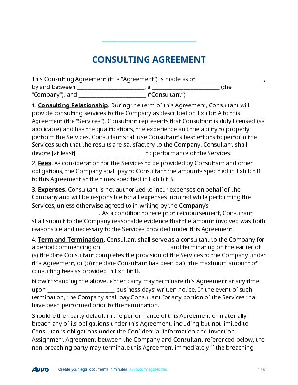 Fill out a Consulting Agreement form online for free – Consulting Service Agreement