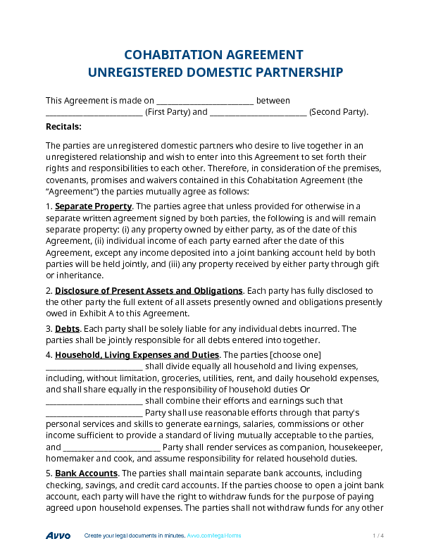 Cohabitation Agreement Unregistered Domestic Partnership