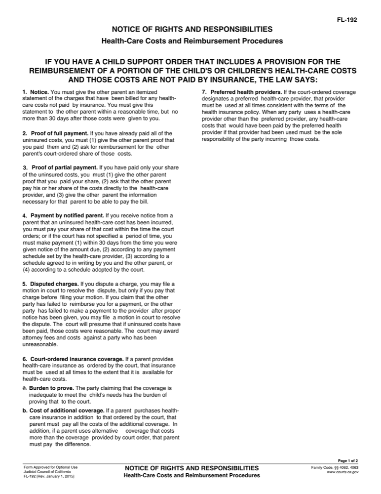 FL-192 Notice of Rights and Responsibilities