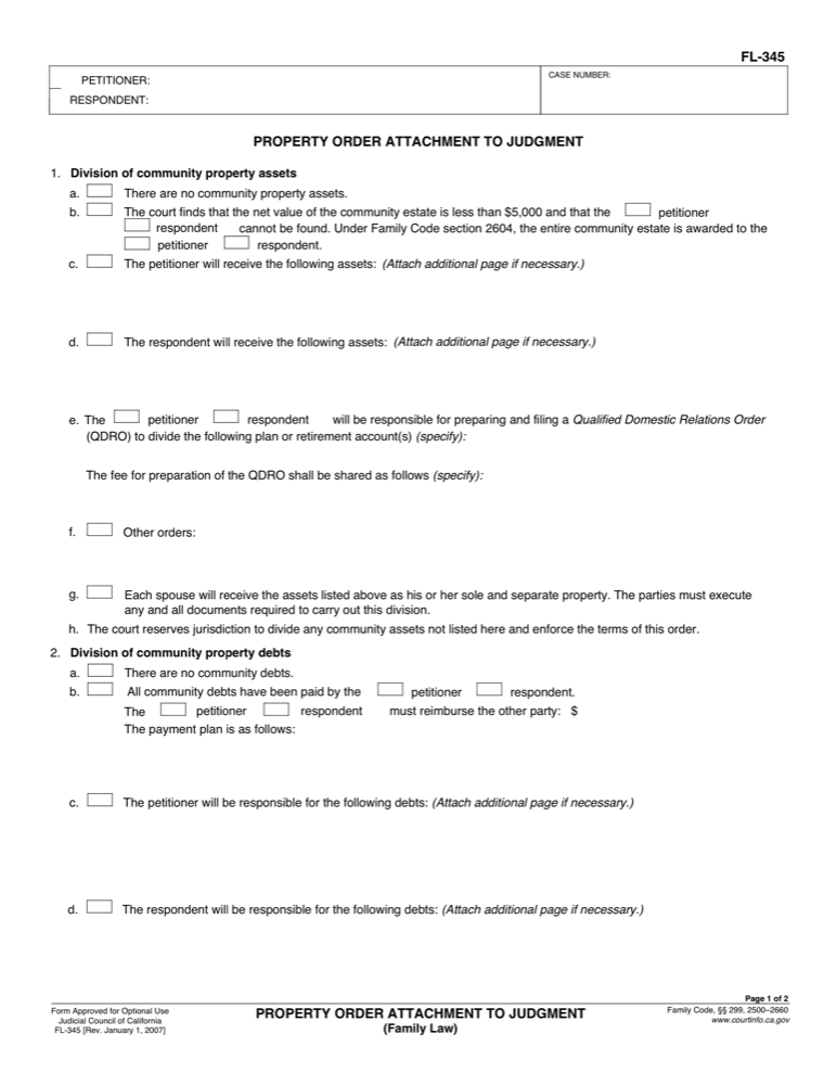 FL-345 Property Order Attachment to Judgment