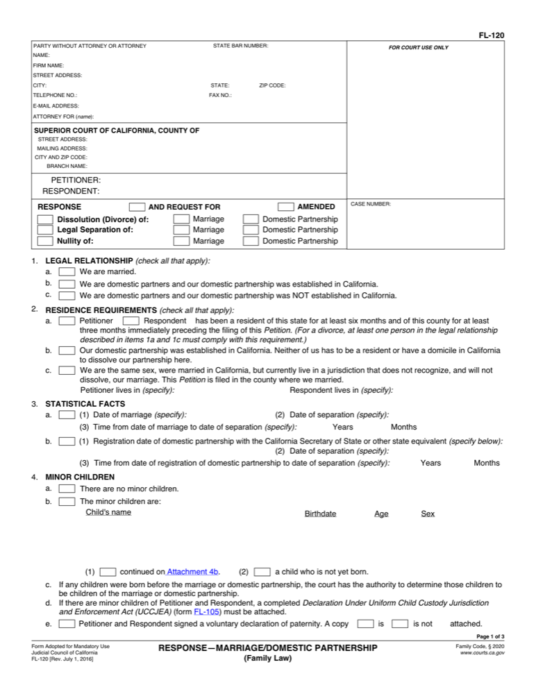 Fl 120 response marriage domestic partnership