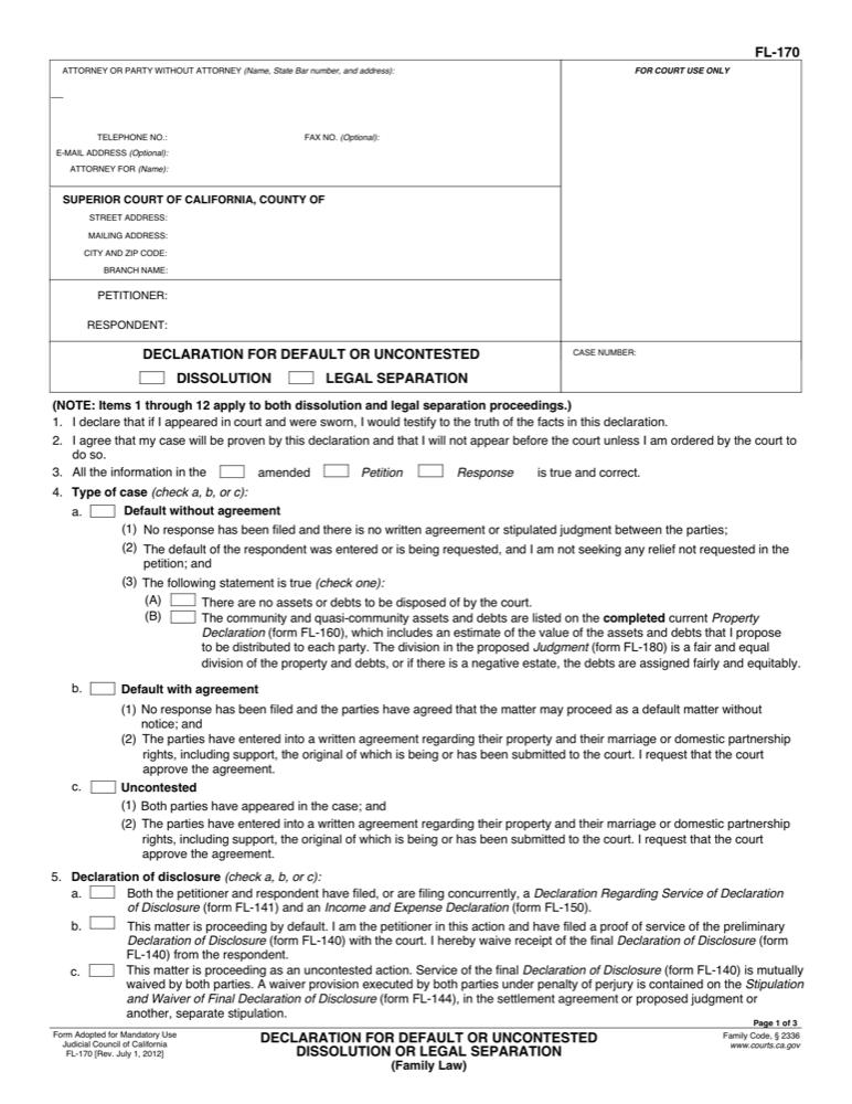 Fl 170 declaration for default or uncontested legal separation