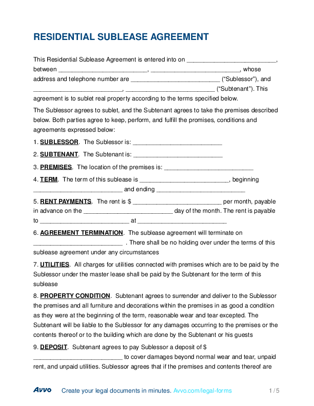 fill out a residential sublease agreement form online for. Black Bedroom Furniture Sets. Home Design Ideas